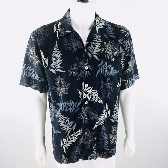 AFTCO Other - AFTCO Wyland Lionfish Floral Hawaiian Silk Shirt M